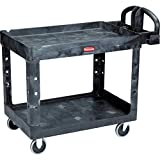 Rubbermaid Commercial Products 2-Shelf Utility/Service Cart, Medium, Lipped Shelves, Ergonomic Handle, 500 lbs. Capacity, for Warehouse/Garage/Cleaning/Manufacturing (FG452088BLA)