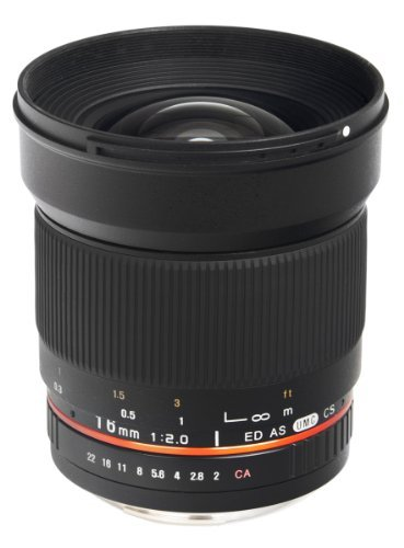Bower SLY1620C 16mm f/2 0 High-Speed Super-Wide Lens for Canon XT/XS/30D/60D/T2i/T3/T5i/1D/5D Mark III/6D/7D/SL1 and Similar DSLRsの商品画像