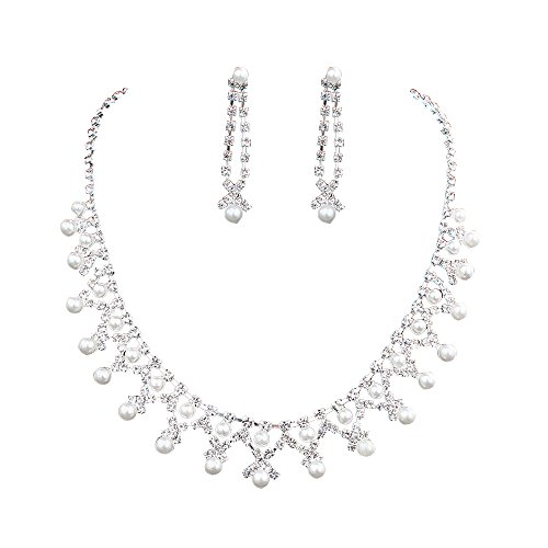 - Wedding Jewelry Sets CZ Pearl Bridal Necklace Sets for Women Elegant Necklace Earring Set