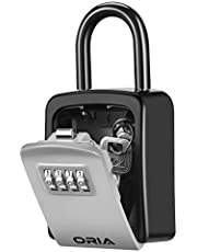 ORIA Key Lock Box, Wall Mounted Key Safe Box, Weatherproof 4 Digit Combination Key Storage Lock Box, 5 Keys Capacity with Removable Shackle for Indoor Outdoor (Silver)