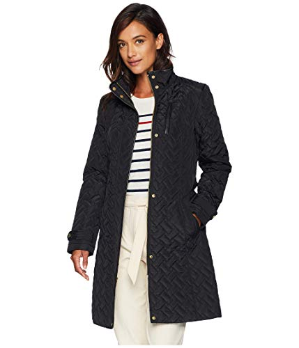 Cole Haan Belted Signature Quilt Zip Front Coat with Trapunto Stitching Details Black XL (US 16-18)