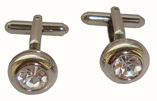 Bassin and Brown Mens Round Crystal Cufflinks - Silver ()