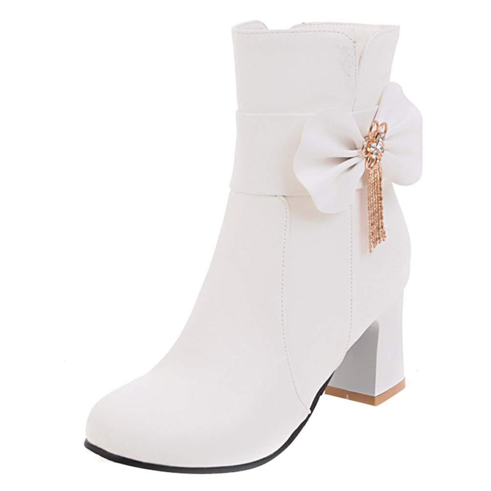 YE Rockabilly Chaussure Noeud Sweet Botte Chaude Ankle Shoes Boots Courte 19753 Bottine Strass Femme Talon Bloc Chunky Heels Zip avec Noeud Winter Shoes Blanc 1ce8562 - reprogrammed.space
