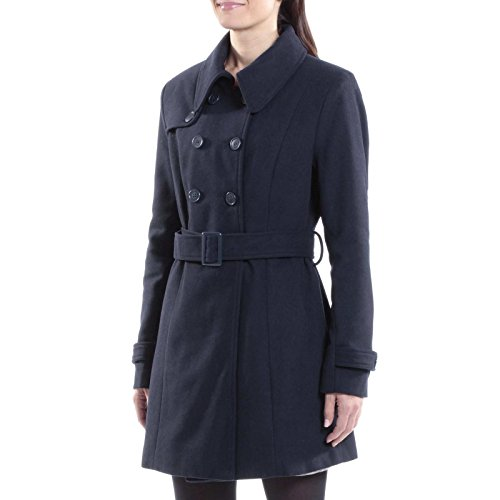 (alpine swiss Keira Womens Navy Wool Double Breasted Belted Trench Coat Small)