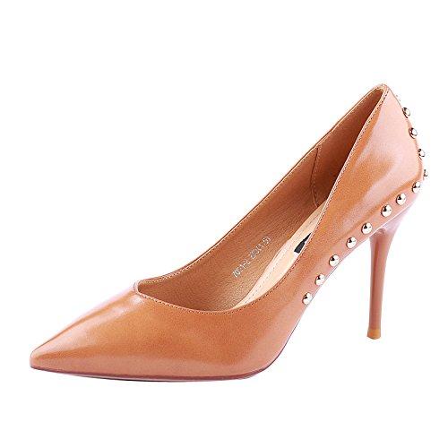 Rivets SSBY Un Hauts 9Cm Sexy Mince Chaussures Cuirs Nu Camel Talons Superficiel Tf4aT0qW