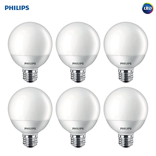 (Philips LED Non-Dimmable G25 Frosted Light Bulb: 500-Lumen, 2700-Kelvin, 6.5-Watt (60-Watt Equivalent), E26 Base, Soft White, 6-Pack)