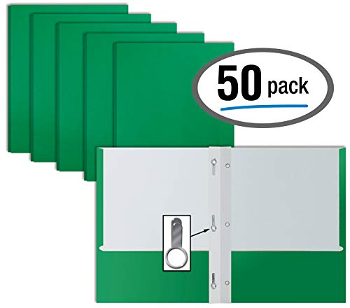 (Green Paper 2 Pocket Folders with Prongs, 50 Pack, by Better Office Products, Matte Texture, Letter Size Paper Folders, 50 Pack, with 3 Metal Prong Fastener Clips, Green)