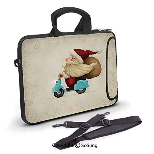 13 inch Laptop Case,Old Santa Claus Delivering Presents on His Motorcycle Swirled Lines Frame Decorative Neoprene Laptop Shoulder Bag Sleeve Case with Handle and Carrying & External Side Pocket,for Ne