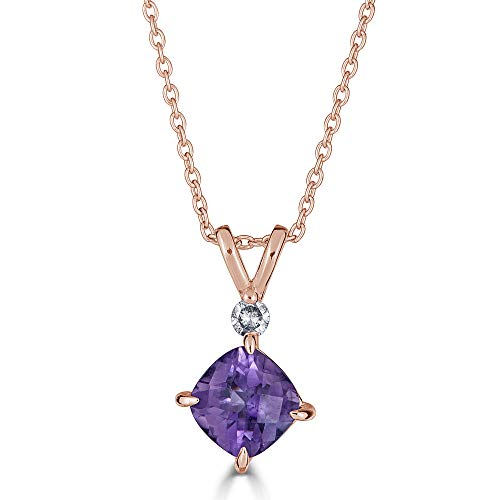 Eleganti 14K Gold Pendant Necklace with Natural Amethyst and IGL Certified Diamonds- February Birthstone- Pure Gold Chain Included (Rose-Gold)