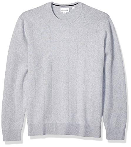 Lacoste Men's Long Sleeve Pinstriped Cotton/Cashmere Sweater, Silver Chine/Navy Blue, Medium