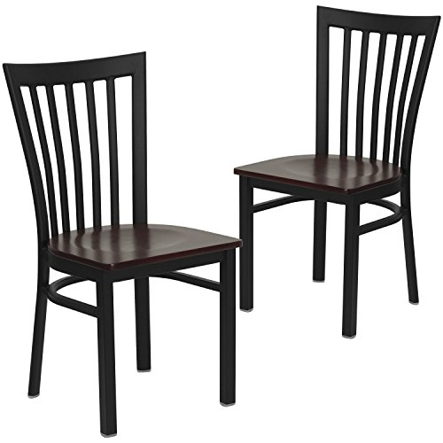 Mahogany Dining Room - Flash Furniture 2 Pk. HERCULES Series Black School House Back Metal Restaurant Chair - Mahogany Wood Seat