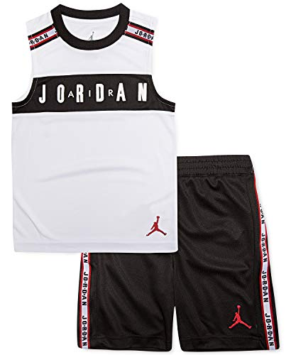 Jordan Air Boy`s T-Shirt and Shorts 2 Piece Set (Black(855951-023)/Red, 4) (Kids Jordan Clothes)