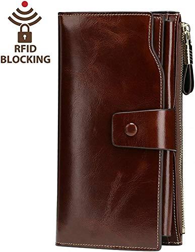Women's RFID Blocking Wax Genuine Leather Clutch Wallet Multi Card Organizer (Large Brown Leather)