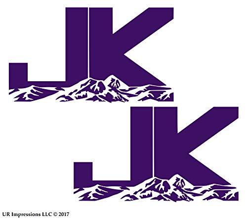 UR Impressions VLT 6.3in. JK Mountains 2-Pack Decal Vinyl Sticker Graphics for Jeep Wrangler 4x4 Unlimited Sahara Rubicon Moab Overland Arctic SUV Walls Windows Laptop|Violet|6.3 X 3.7 inch|URI687-V