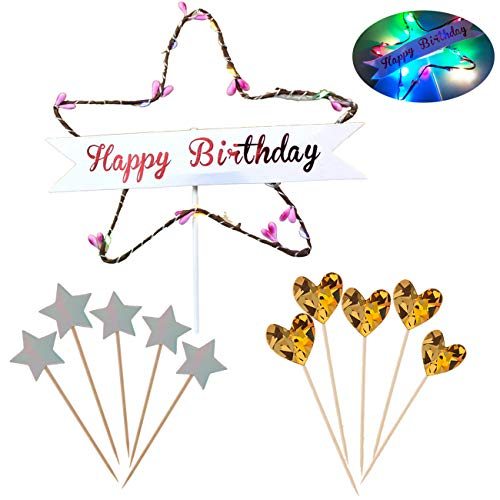 NPLUX Happy Birthday Cake Topper with LED Luminous Star and 5 Heart-Shaped Flags 5 Star Flag Decoration Birthday Party Baby Shower,Cake Baking Decoration Supplies