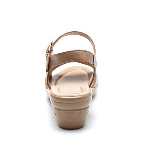 Girls L@YC Women Sandals Summer Comfortable High Slope With Large Yards Leather Soft Bottom Non Slip Dress Women'S Shoes , brown , 35