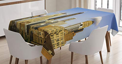 Ambesonne Illinois Tablecloth, Downtown Chicago Architecture View in Cloudy Sky Metropolitan Town Country, Dining Room Kitchen Rectangular Table Cover, 60 W X 90 L Inches, Violet Blue Cream - Dining Rectangular Table Metropolitan