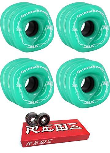 Shark Wheels 72mm DNA ソリッドターコイズ/ホワイトロングボードスケートボードホイール - 78a ボーンベアリング付き - 8mm ボーン スーパーレッド スケートボードベアリング - 2個セット   B07MW48YC8