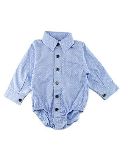 Baby Boy Dots - Littlest Prince Couture Infant/Toddler/Youth Long Sleeve Blue Dots Dress Shirt Bodysuit 3 Months