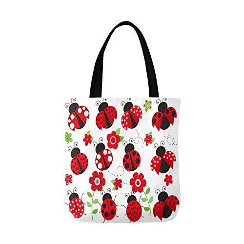 Cute Ladybugs Canvas Tote Bag Handbag Purse for Women