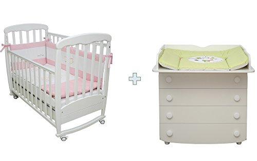 Sparset-Babyzimmer-Warsaw-Art-Nr0106-2206-Sparset-Babybett-aus-Buche-MASSIVHOLZ-120x60-inkl-Lattenrost-breite-Wickelkommode-mit-Wickelaufsatz-ohne-Textilien