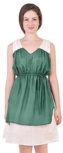 Marycrafts Womens Pure Silk Colorblock Dress Egyptian Greek Roman 10 Teal (Ancient Roman Dresses)