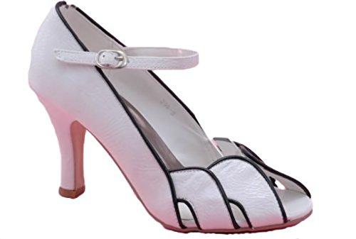 EyeCatchShoes - Damen-Patent Peeptoe Schuhe Weiß