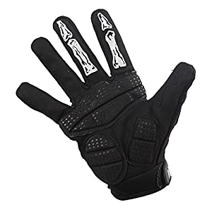 V-Best Cycling Skeleton Gloves, Full Finger Skull Gloves Anti-Slip Touch Screen Bicycle Riding Gloves for Women and Men Motorcycle gloves (Black, M)