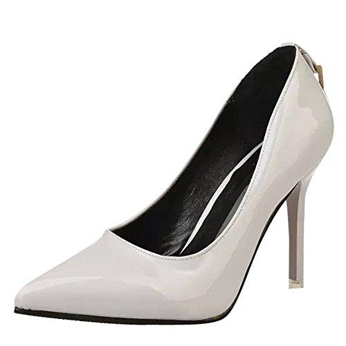 Mee Shoes Damen Stiletto Lackleder OL-Stil Pumps Grau