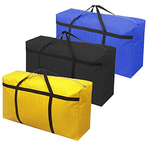 3pcs Extra Large 26.5 gal Storage Bags with Strong Handle, Travel Duffel Clothes Bags for Moving, Blue Black Yellow