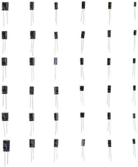 Electrolytic Capacitor SENRISE 500pcs Electrolytic Capacitors Assortment Kit with Storage Plastic Box Range 0.1uF-1000uF