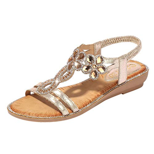 - NEARTIMELadies Bohemia Sandals, Summer Women Bling Flower Crystal Flat Sandals Ankle Beach Casual Shoes