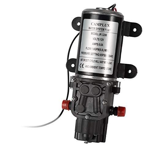 - Camplux JK-3206 Used 12V Water Pump 65PSI DC 1.6GPM 6LPM Diaphragm for Caravan RV Marine Fishing Boat