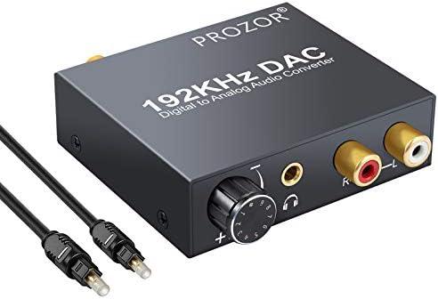 PROZOR 192 kHz DAC Konverter Lautstärke einstellbar Digital SPDIF optischer Koaxial Toslink auf Analog Stereo Audio L/R RCA 3,5 mm Klinke Audio