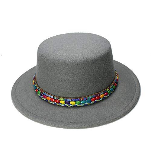(Natural Caps New Wool Boater Flat Top Hat for Women's Felt Wide Brim Fedora Hat Lady Prok Foot Felt Hat Bowler Gambler by Original Design Elegant Hats (Color : Gray, Size : 57-58cm))