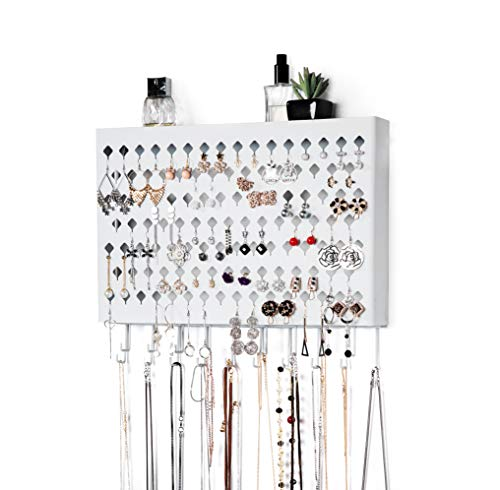 JackCubeDesign Wall Mount Earring Jewelry Hanger Organizer Holder Necklace Bracelet Rack Storage Display Stand Hanging Iron with 109 Holes/19Hooks(White,16.5 x 2.4 x 13.2 inches)-:MK329B