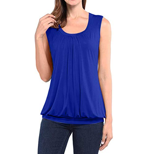 2019 Sleeveless Vest Ladies Solid Color Pleated Shirt Summer Casual Round Neck Simple T-Shirt top MEEYA Blue ()