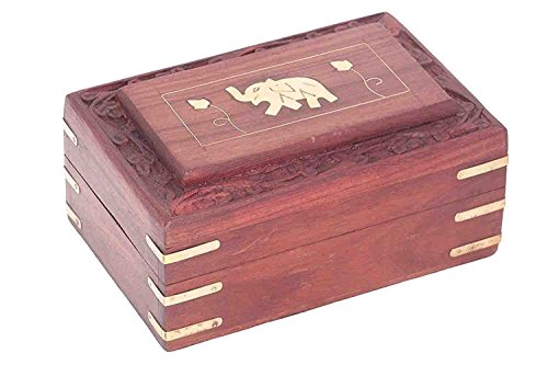 (khandekar Wooden Jewelry Box with Single Elephant Design Jewelry Box for Women Jewelry Organizer Storage Trinket Box, Vintage Thai Teak Wood Box (6 Inch))