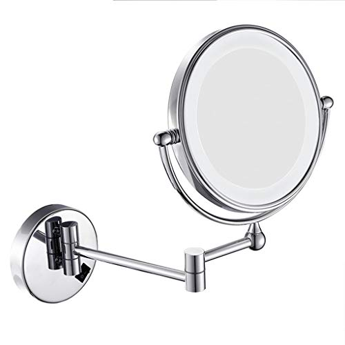 WUDHAO Wall-Mounted Vanity Mirrors Wall-Mounted 8-inch Vanity Mirror LED Fill Lens 3X Magnifying Lighted Makeup Mirror (Color : Silver, Size : 8 inches ()