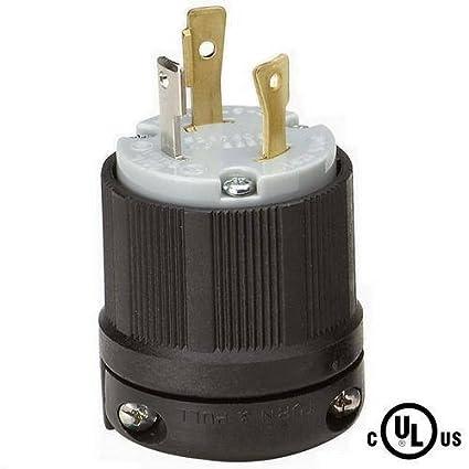 nema l5 30 grounding locking plug, 30a 125v ac, 2 pole 3 wire,