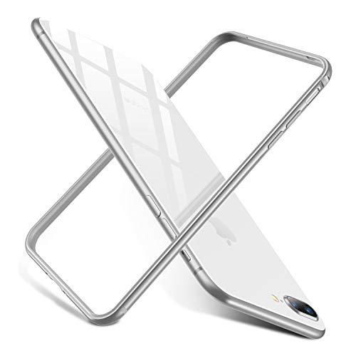 RANVOO iPhone 8 Plus Bumper Case, iPhone 7 Plus Bumper Case, Premium Bumper Case Flexible Protective Aluminum TPU Hybrid Bumper Frame [Support Wireless Charging], Silver [Armor]