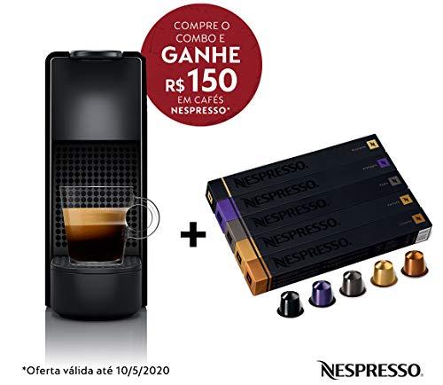 Cafeteira Nespresso Essenza Mini Preta 220V e Seleção Variados 50 cápsulas de café