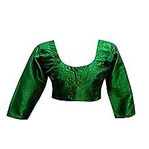 Indian plain Raw Silk Neavy Green ready made saree blouse Top Choli
