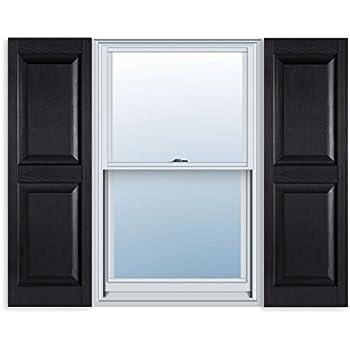 15 Inch X 71 Inch Standard Raised Panel Exterior Vinyl Shutter, Black (Pair)