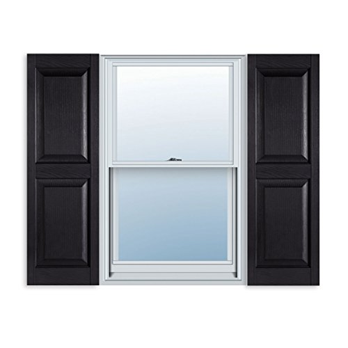14 1 2 Inch X 59 Inch Standard Raised Panel Exterior Vinyl Shutter Black Pair Budget Window