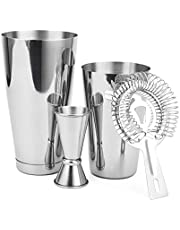 Cresimo Boston Shaker 4 Piece Cocktail Making Set with Bonus Cocktail Recipe Booklet: 18oz Unweighted & 28oz Weighted Professional Bartender Cocktail Shaker Set with Double Jigger and Hawthorne Strainer