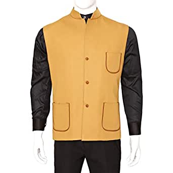 Libas Riyaz Gangji Yellow Twill Vest For Men