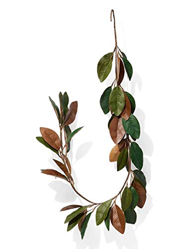 (Serene Spaces Living 5 Feet Long Faux Magnolia Leaf Garland, Ideal to Hang at Wedding, Store Display, Window Sill)