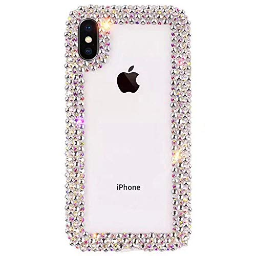 (GIZEE Phone Case Compatible with iPhone Xs Max 6.5 Inch, Luxury 3D Glitter Sparkle Bling Shiny Handmade Crystal Rhinestone Diamond Bumper Girly Clear Protective Case Cover)