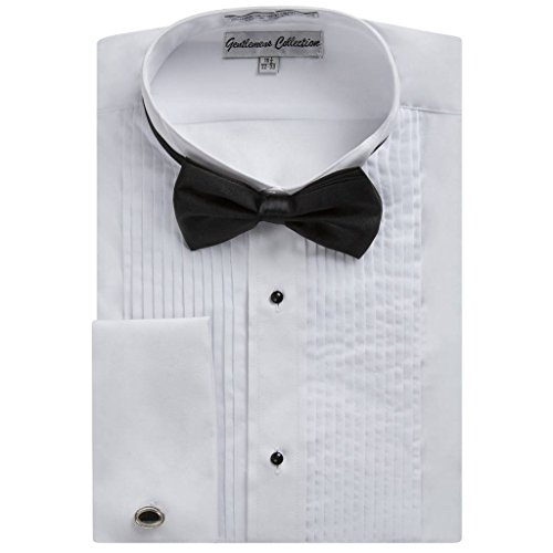 Gentlemens Collection 1922 Men's Regular Fit Wingtip Collar French Cuff Tuxedo Shirt - White - 19.5 6-7